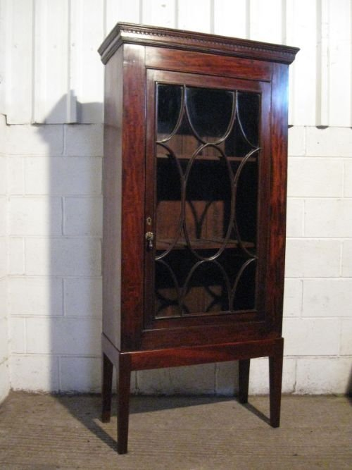 antique georgian mahogany display cabinet bookcase on stand c1780