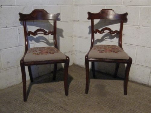 pair antique regency mahogany side hall chairs c1800 wdb702511