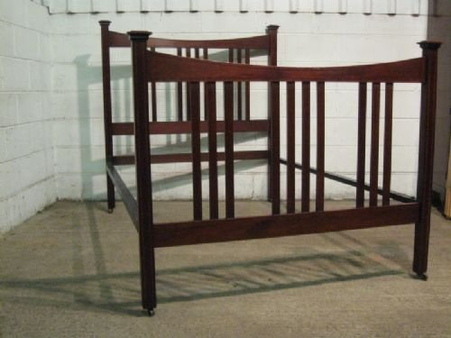 antique edwardian arts crafts inlaid mahogany double bedstead c1900 wdb55612