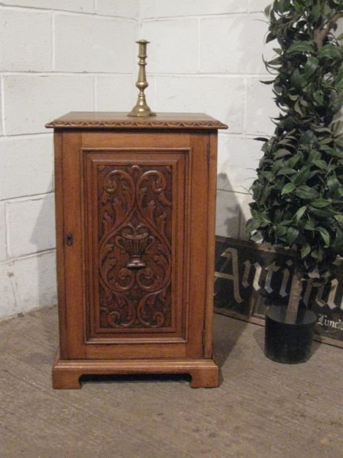 antique edwardian carved oak pot cupboard bedside cabinet c1900 wdb4558910