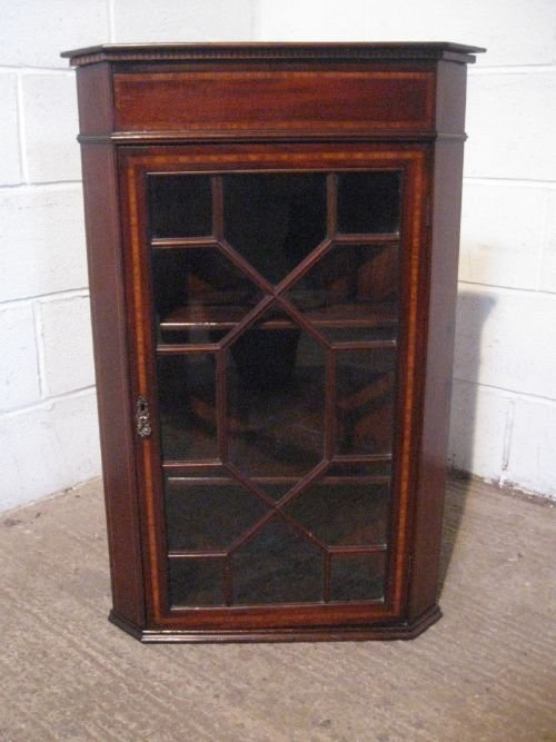 antique edwardian inlaid mahogany astragal glazed corner cabinet c1900 wdb481257