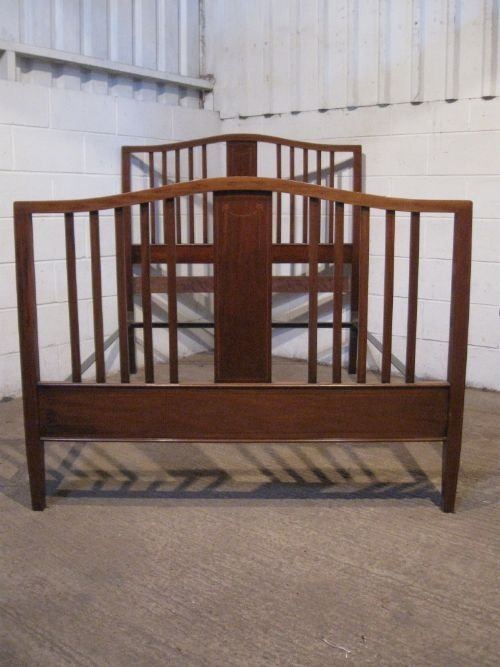 quality antique edwardian inlaid mahogany double bedstead c1900 wdb495277