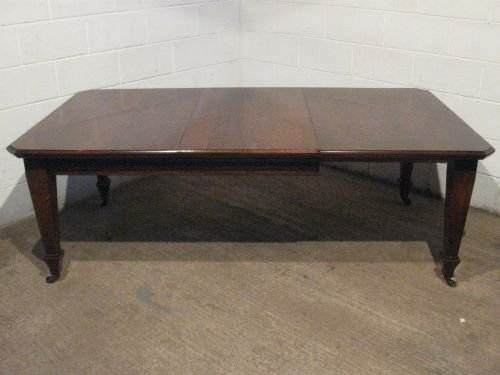 large antique victorian solid oak wind out dining table c1890 seats 10 wdb380277