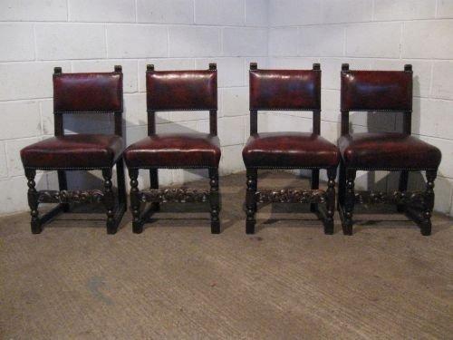 set four antique victorian jacobean oak leather dining chairs c1880  wdb5970139 - Set Four Antique Victorian Jacobean Oak & Leather Dining Chairs