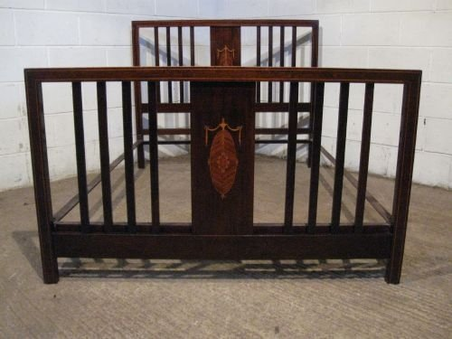 antique edwardian mahogany inlaid double bed c1900 wdb6041209