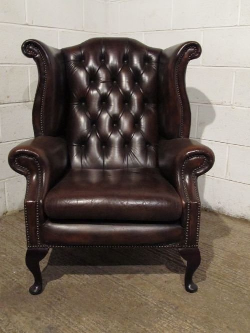 antique brown leather chesterfield wing chair c1950 pr2811