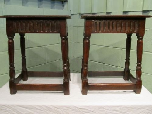 antique pair georgian country oak joint stools c1750 w6375214