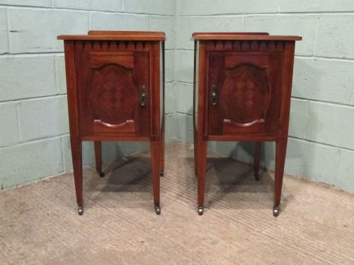 antique pair superb quality edwardian mahogany inlaid bedside cabinets c1900