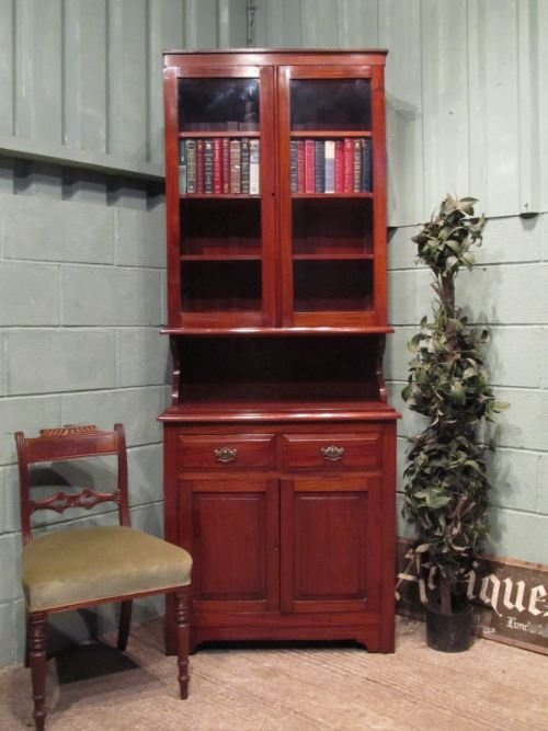 antique edwardian mahogany tall narrow bookcase c1900 w6643711