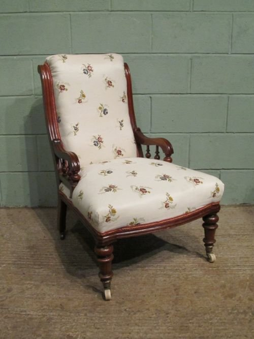 antique victorian mahogany scroll back armchair c1860 w6768301
