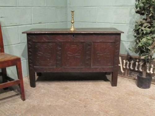antique late 17th century country oak coffer box w6839133