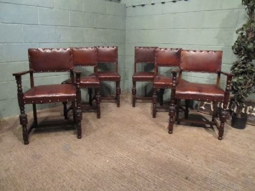 antique edwardian set six oak leather dining chairs c1900 w6871192