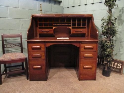 antique victorian oak roll top desk c1890 w6941145