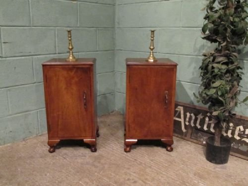 antique pair walnut bedside cabinets c1920 w6946215