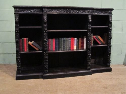 antique victorian carved gothic oak breakfront open bookcase c1880 w6979186