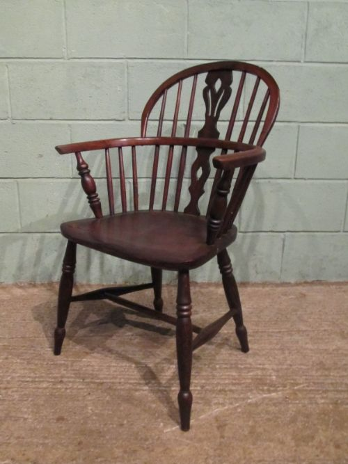 antique 19th century low back oak and ash windsor chair c1850
