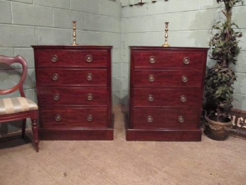 antique pair regency mahogany side cabinets with false drawers fronts c1810