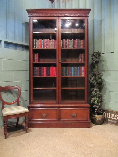 antique late 19th century tall oak glazed library bookcase c1890