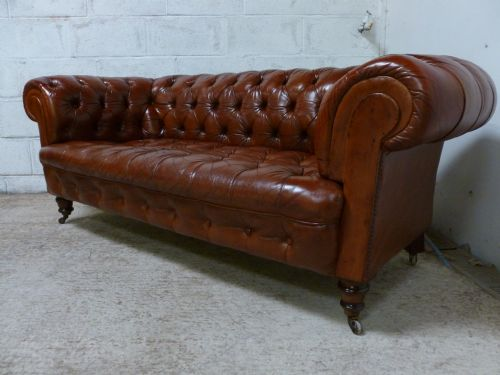 Pair Antique Edwardian Cigar Brown Leather Chesterfield Full Button