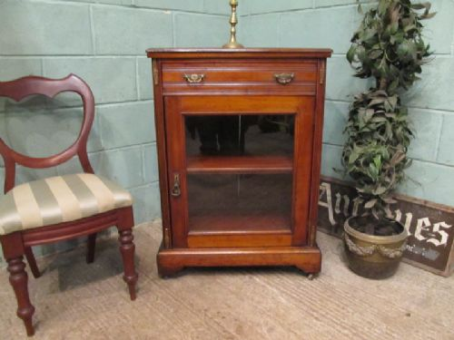 antique edwardian mahogany display or music cabinet c1900