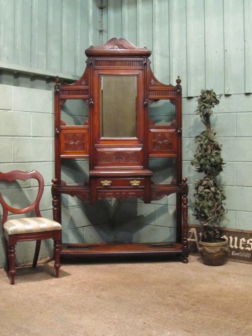 antique late victorian mahogany hall stand c1890