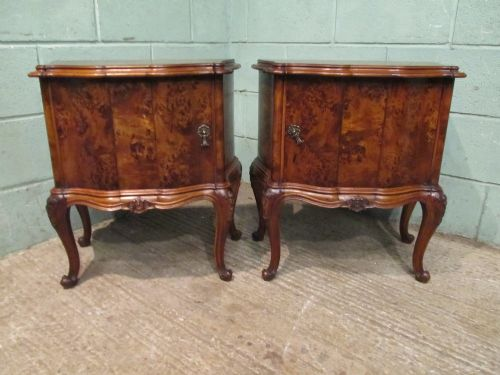 antique pair italian burr walnut serpentine shaped bedside cabinets c1900