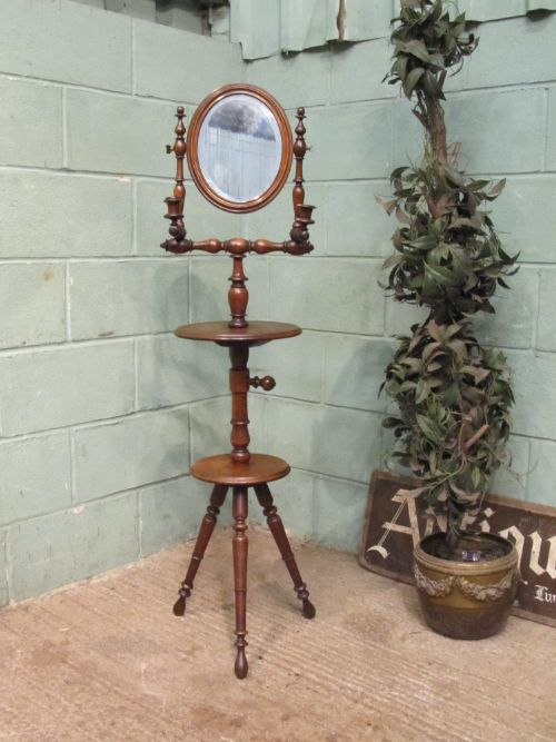 antique edwardian oak gents shaving mirror stand c1900