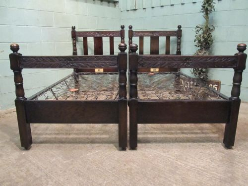 antique pair edwardian carved oak single beds by staples co c1900