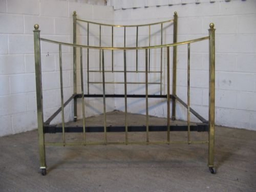 antique victorian arts crafts brass double bedstead