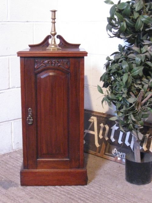 antique art nouveau mahogany bedside cabinet pot cupboard c1890