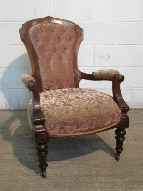 gorgeous carved mahogany spoon back victorian salon arm chair