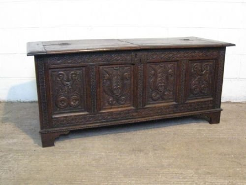 antique queen anne carved oak coffer c1700