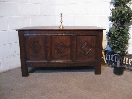 antique charles 11 country oak coffer c1660