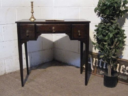 antique victorian country oak lowboy desk c1880