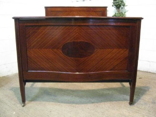 superb quality antique edwardian mahogany inlaid double bed stead c1900