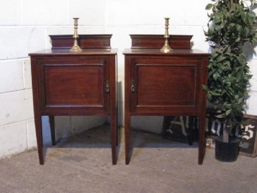 pair edwardian mahogany inlaid bedside cabinets pot cupboards c1900