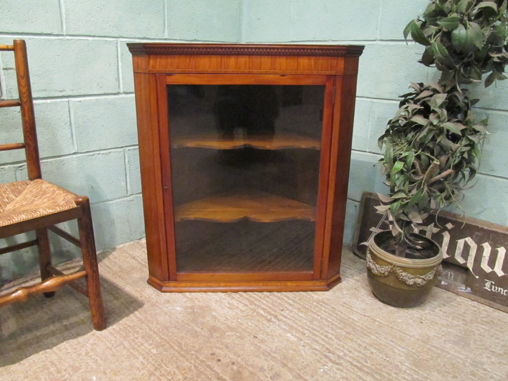antique georgian regency satinwood hanging corner cabinet c1820