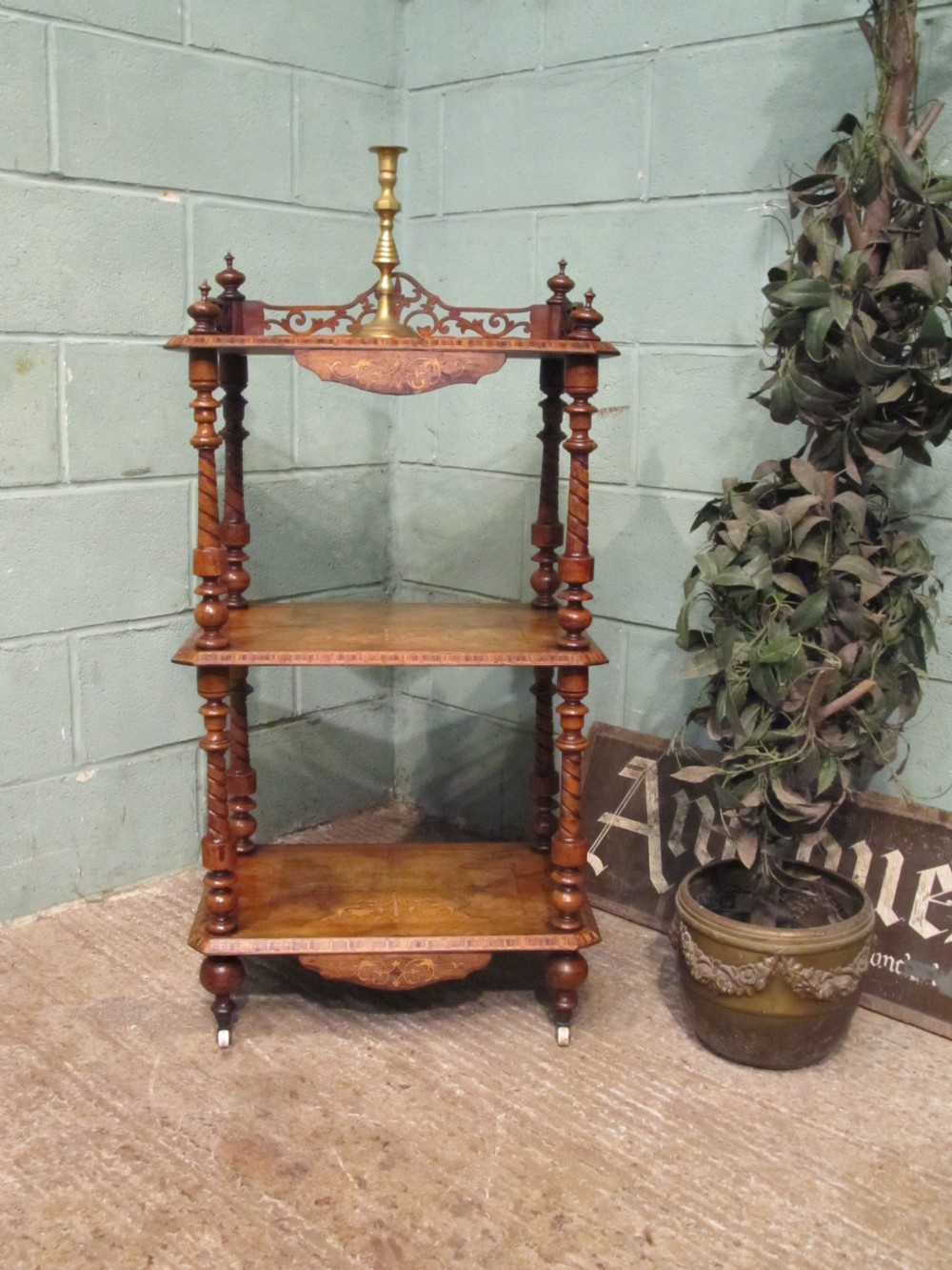 antique victorian walnut three tier whatnot c1880