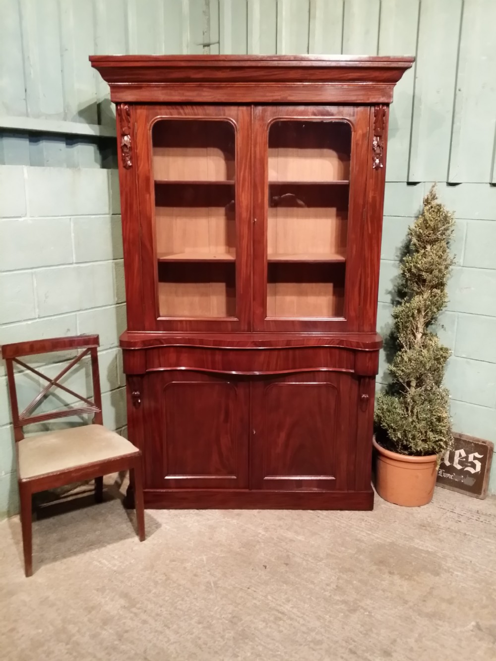 antique victorian mahogany library bookcase c1880
