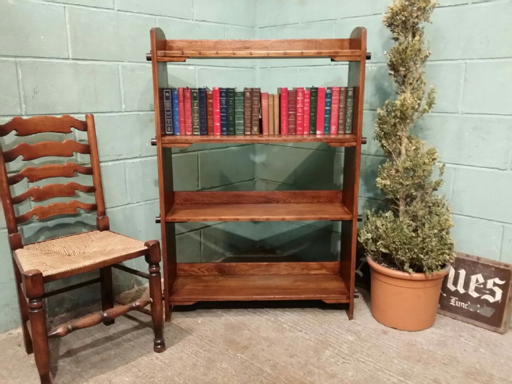 antique arts and crafts bespoke oak open bookcase c1890