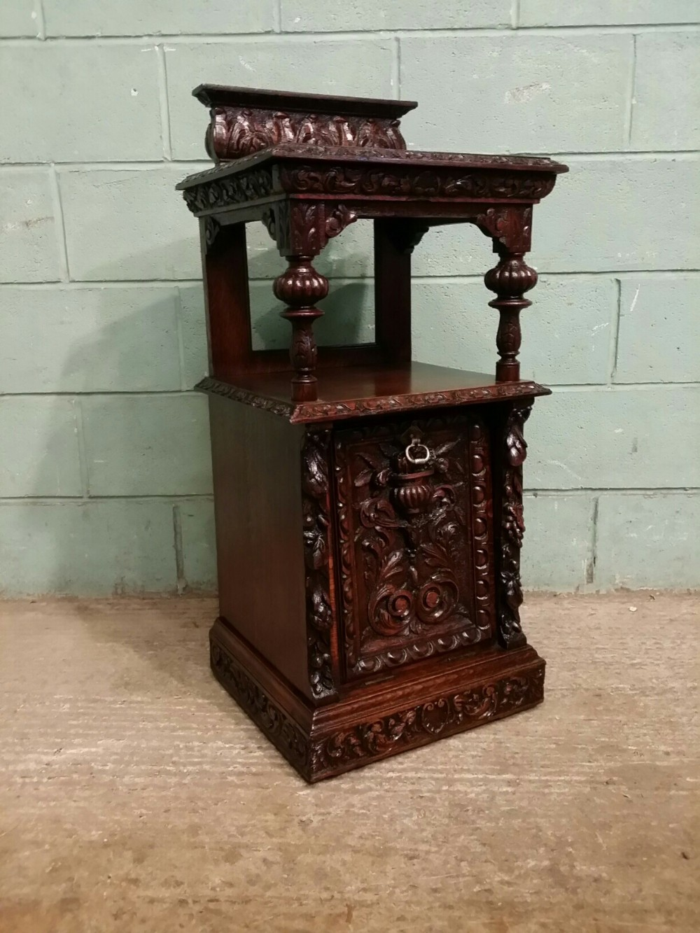 antique victorian carved oak perdonium c1880