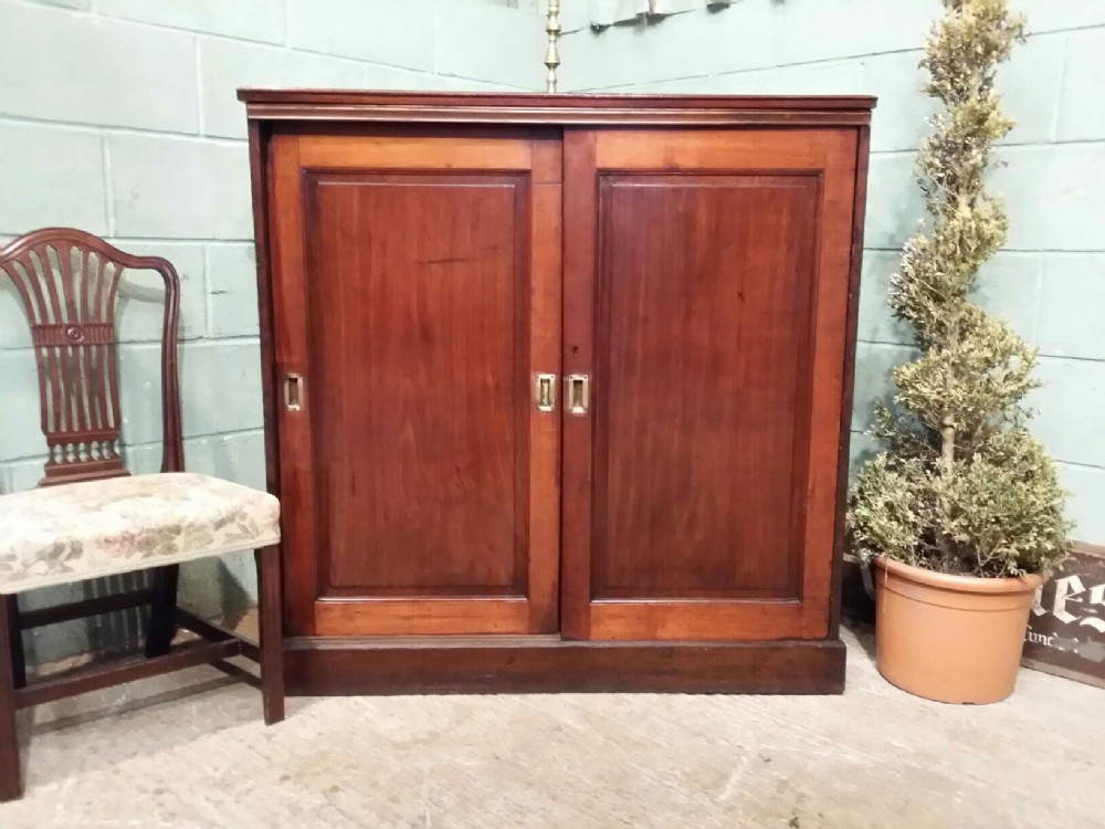 antique victorian mahogany linen cupboard c1880