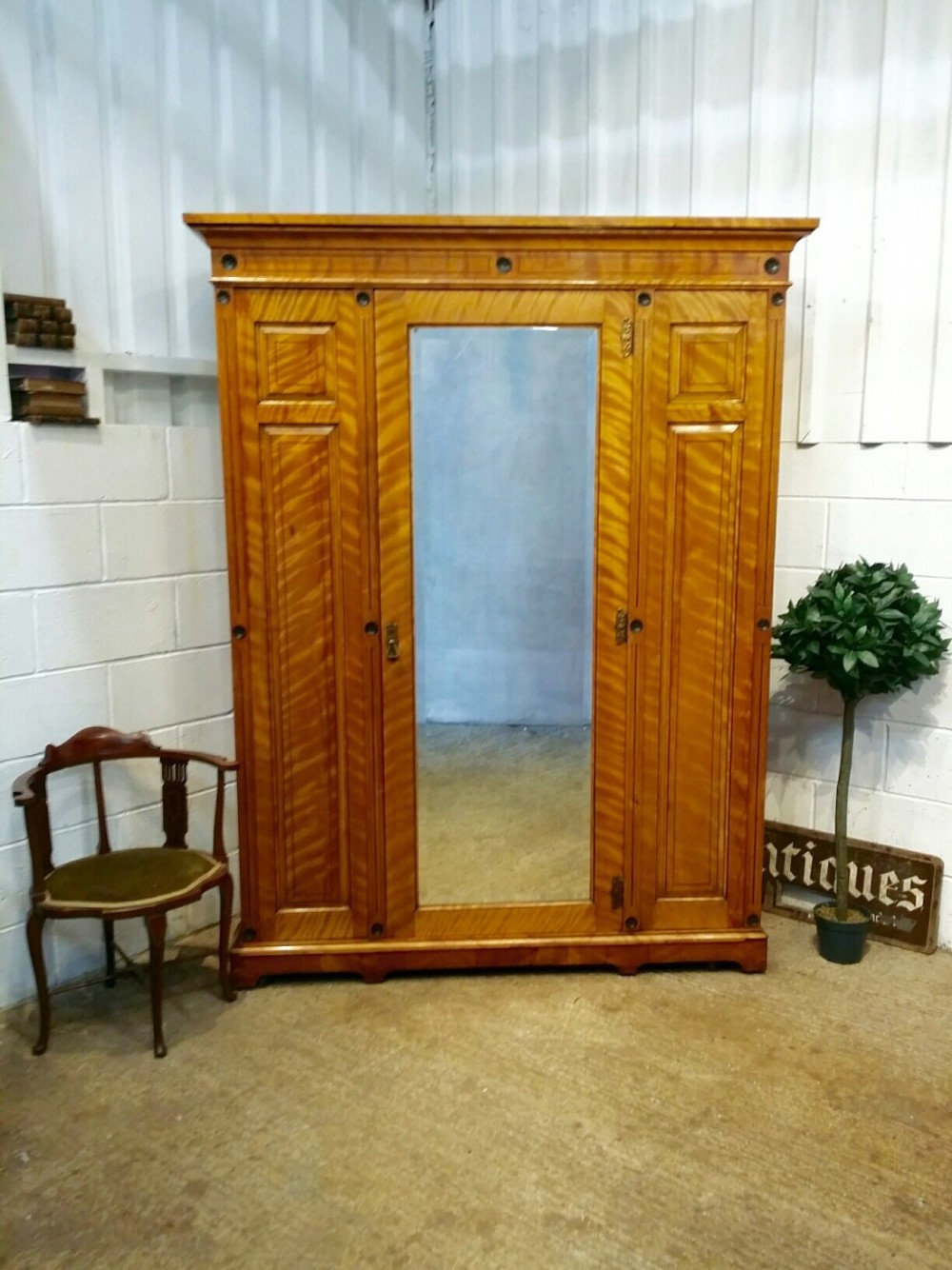 antique victorian large satin birch double wardrobe c1880