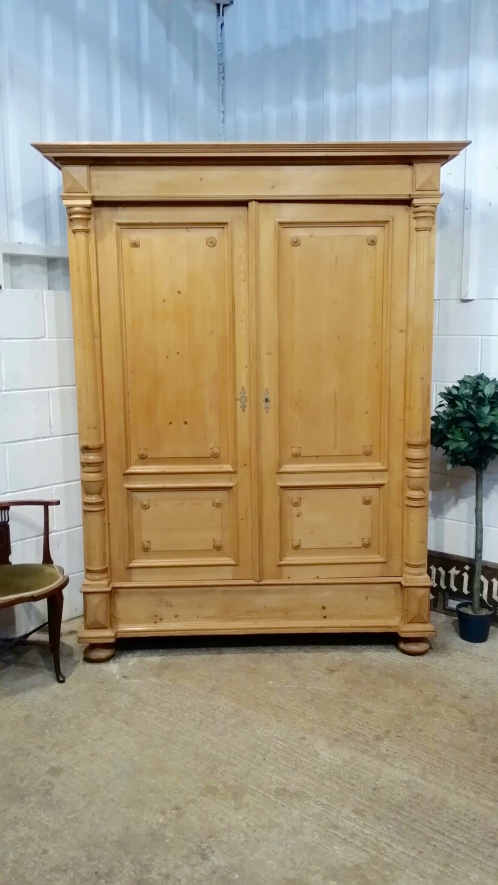 antique flemish waxed pine double wardrobe c1870