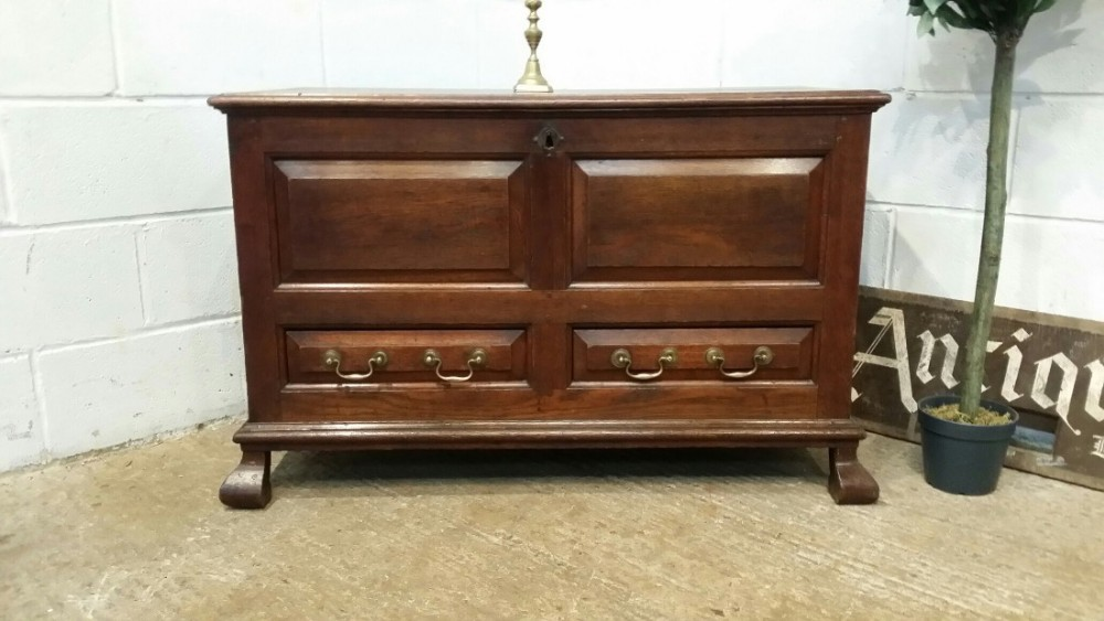 antique late georgian joined oak mule chest c1800