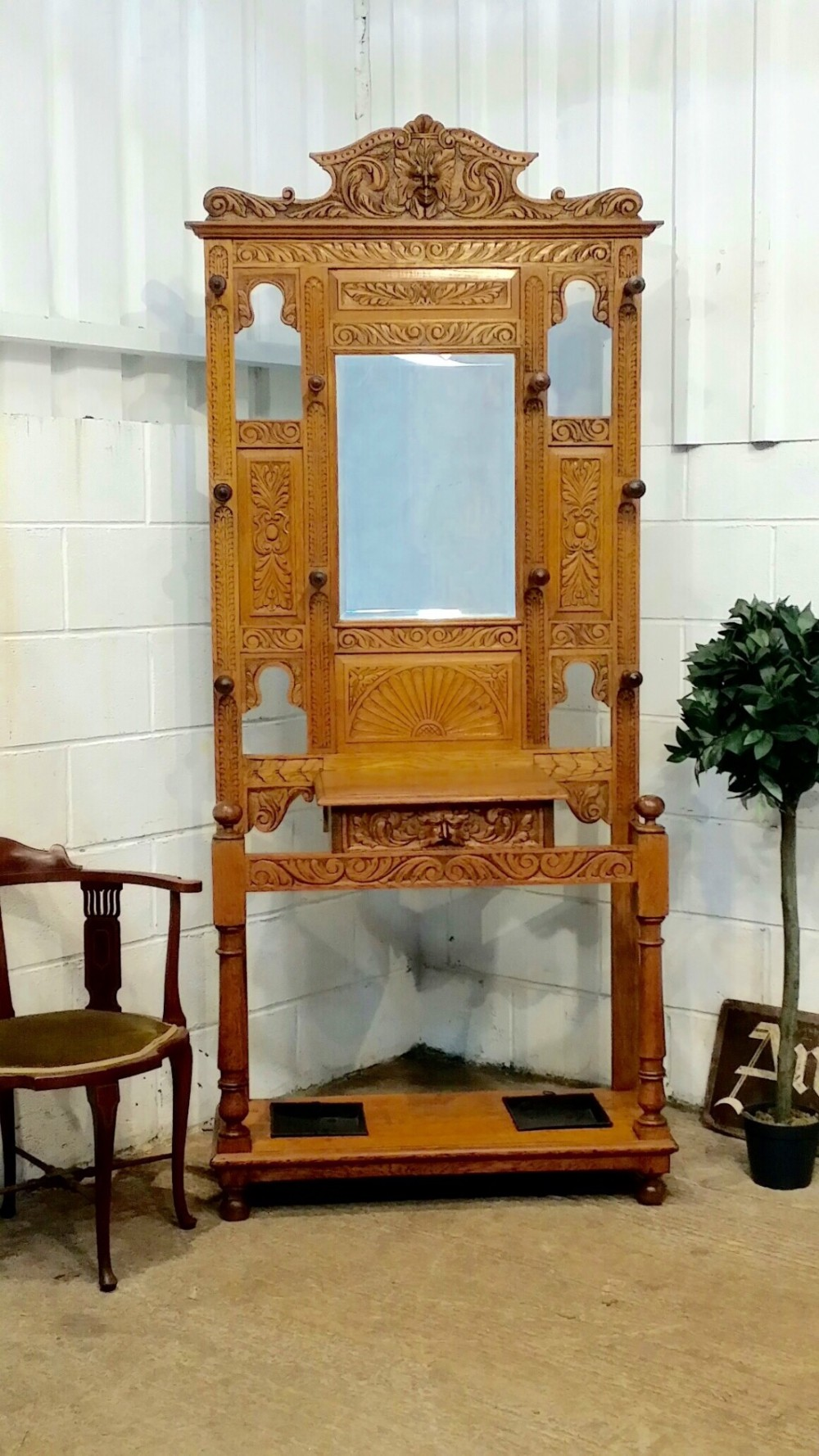 antique victorian light oak carved green man hallstand c1880
