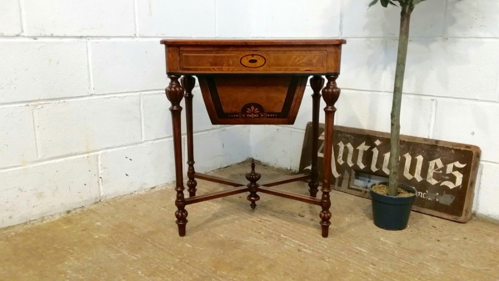 antique victorian burr walnut inlaid work sewing table c1880