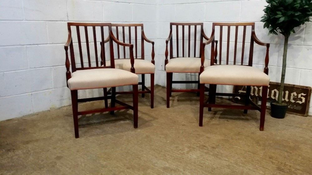 antique set four regency mahogany elbow chairs c1820