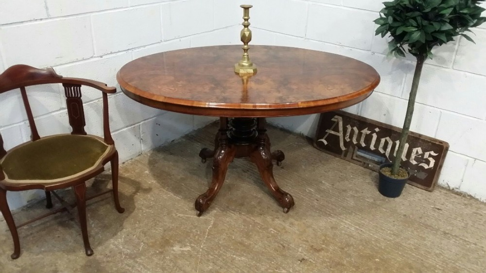 antique victorian inlaid burr walnut loo table c1880