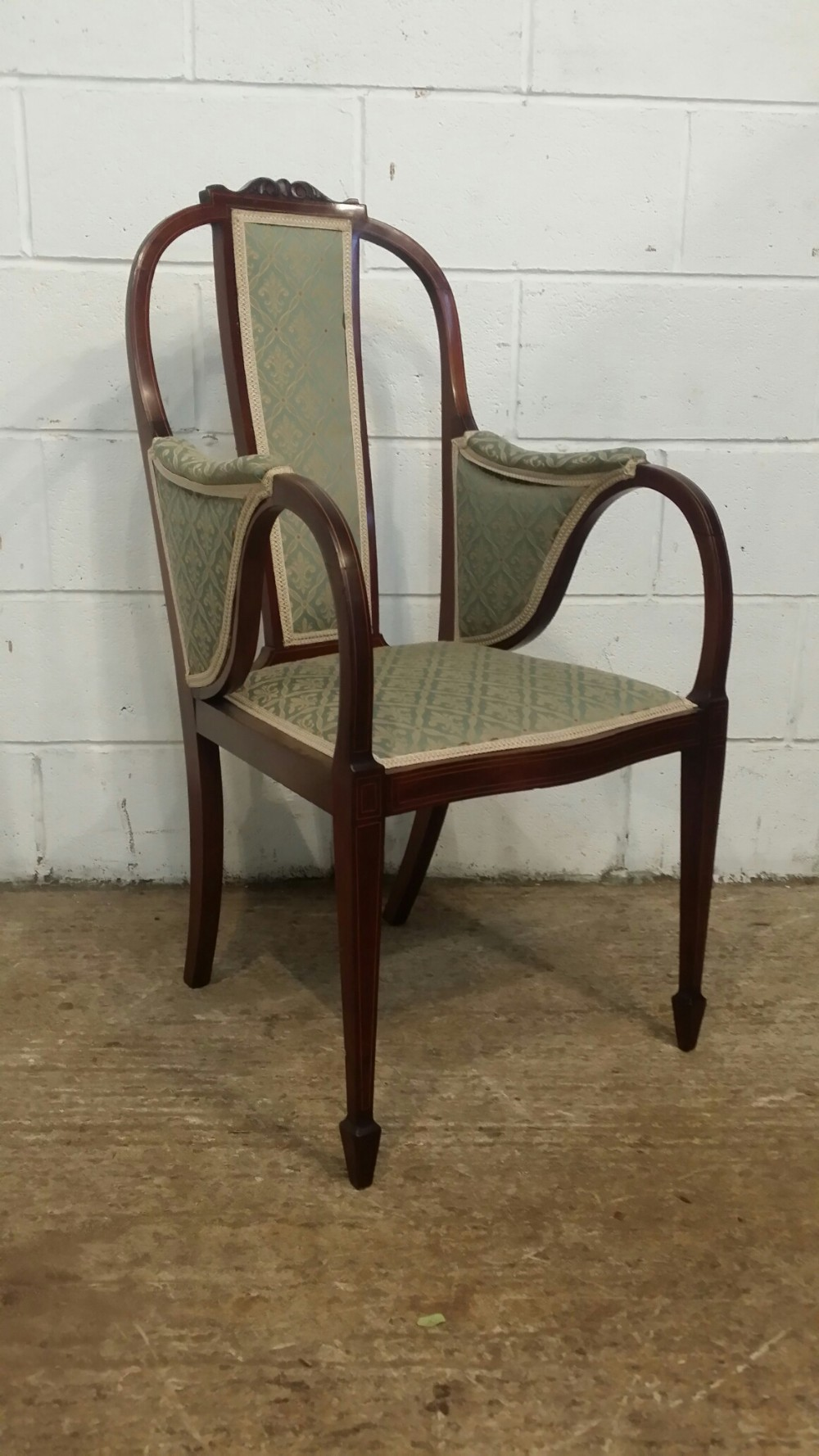 antique edwardian aesthetic mahogany library desk chair c1900
